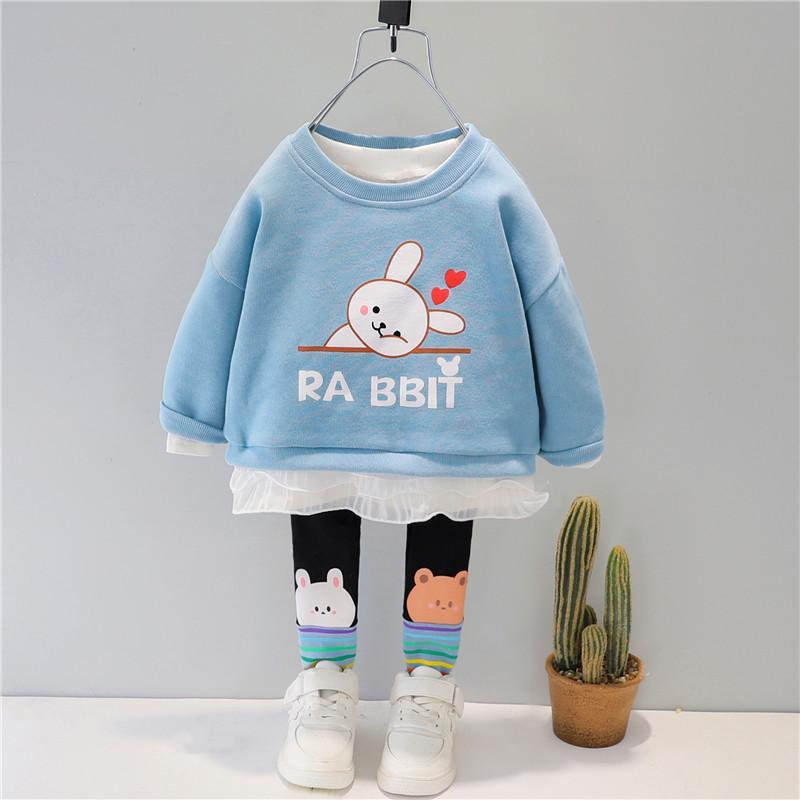 2-piece Rabbit Pattern Sweatshirt & Pants for Toddler Girl
