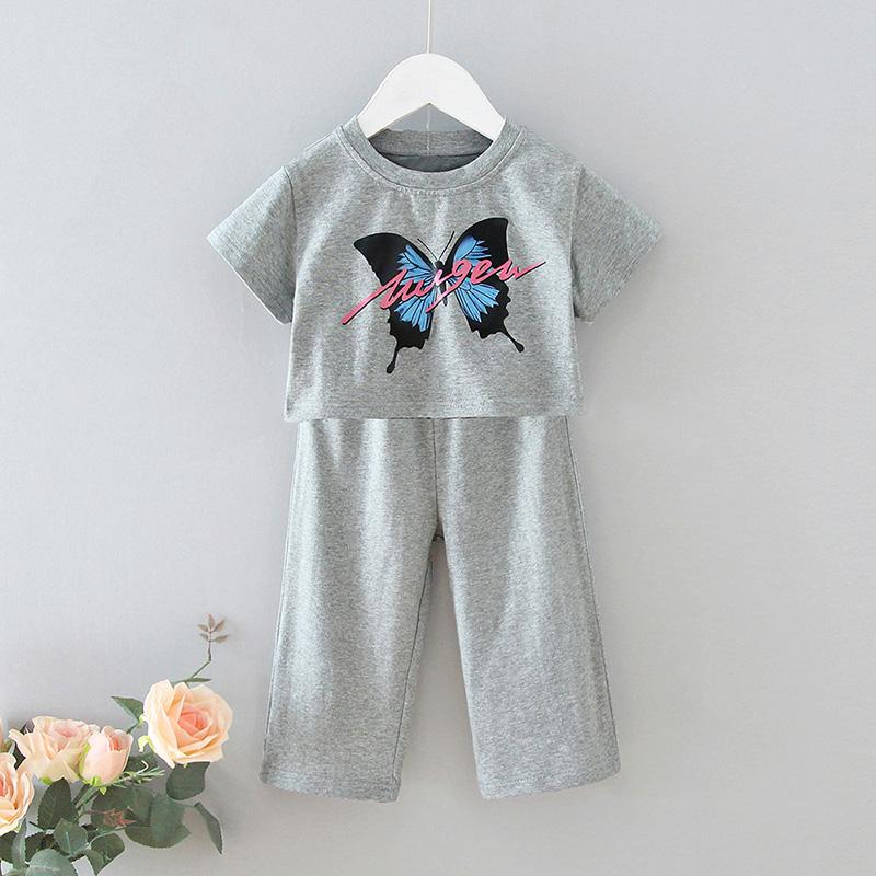 2-piece Butterfly Printing T-shirt & Pants for Toddler Girl
