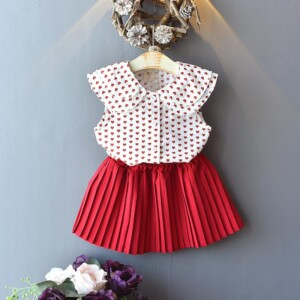 2-piece Heart-shaped Pattern Dress Set for Toddler Girl