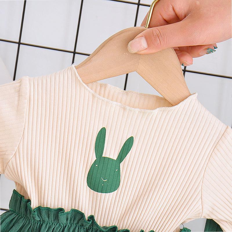 2-piece Rabbit Pattern T-shirt & Pants for Toddler Girl