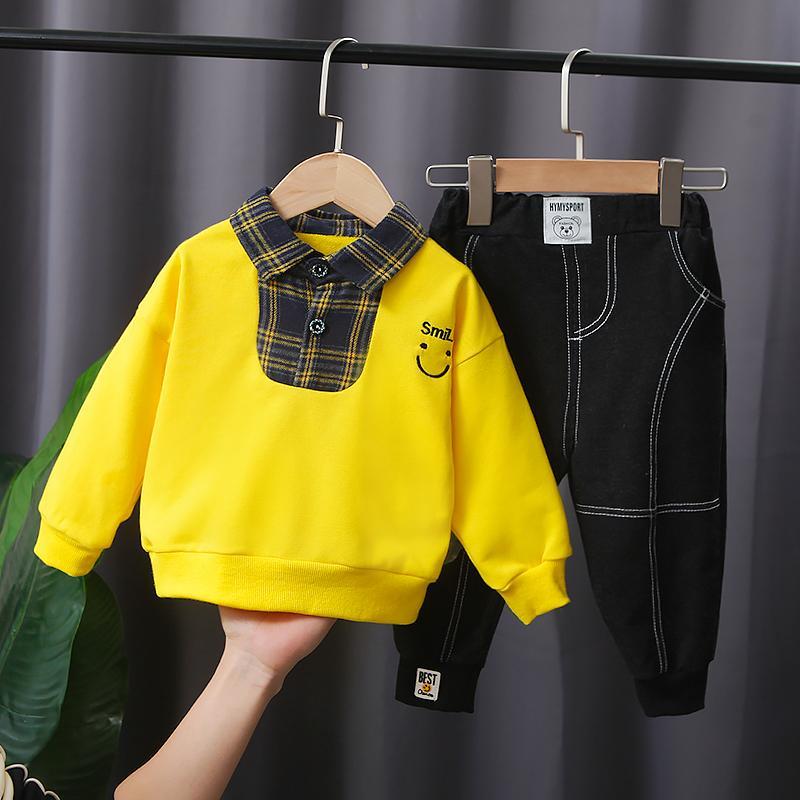 2-piece Color-block Shirt & Pants for Toddler Boy