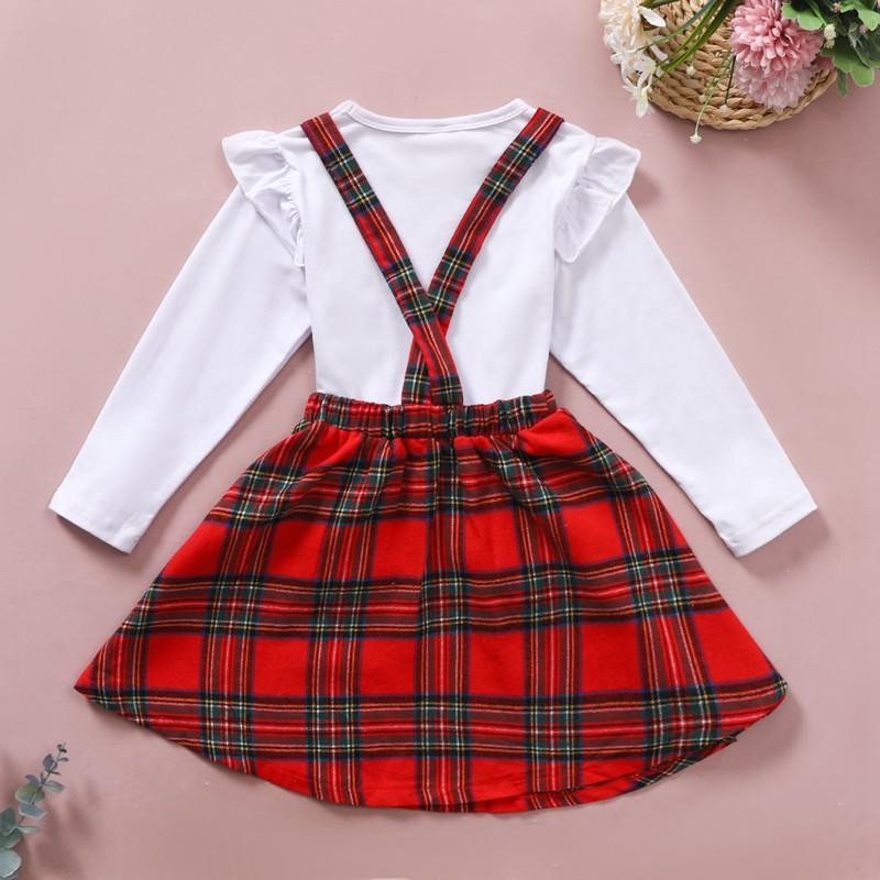 2-piece Long Sleeve T-shirt & Plaid Skirt for Toddler Girl
