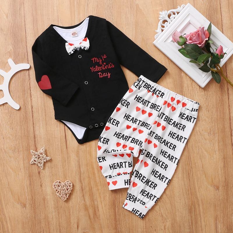 2-piece Heart-shaped Pattern Romper & 1-piece Pants for Baby Boy