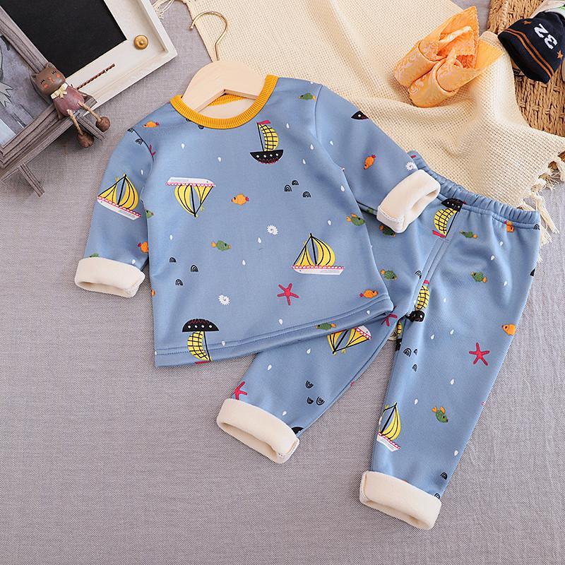 Fleece-lined Sailboat Pattern Pajamas Sets for Toddler Boy