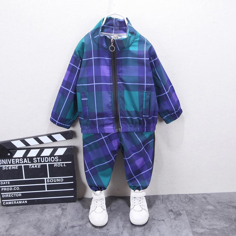 2-piece Plaid Coat & Pants for Toddler Boy