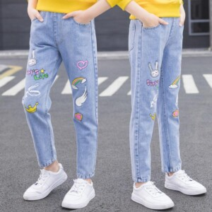 Cartoon Pattern Jeans for Girl