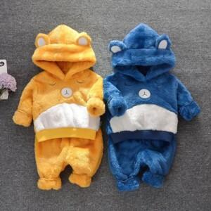 Cartoon Design Hooded Jumpsuit for Toddler Boy