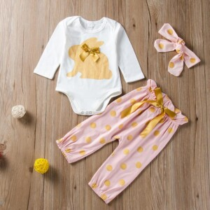 3-piece Rabbit Pattern Romper & Headband & Pants for Baby Girl