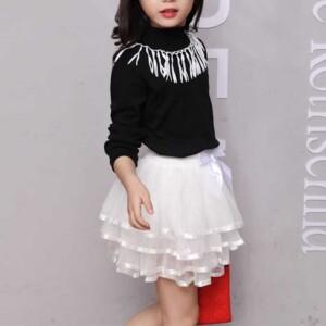 2-piece Long Sleeve T-shirt & Mesh Skirt for Girl