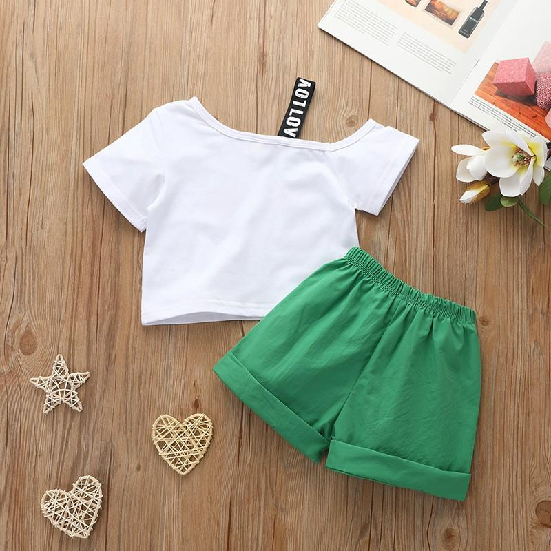 2-piece Strawberry Pattern T-shirt & Shorts for Toddler Girl