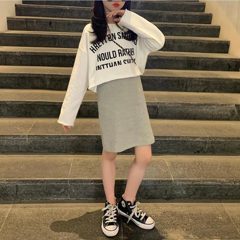 2-piece Letter Pattern Long Sleeve T-shirt & Skirt for Girl
