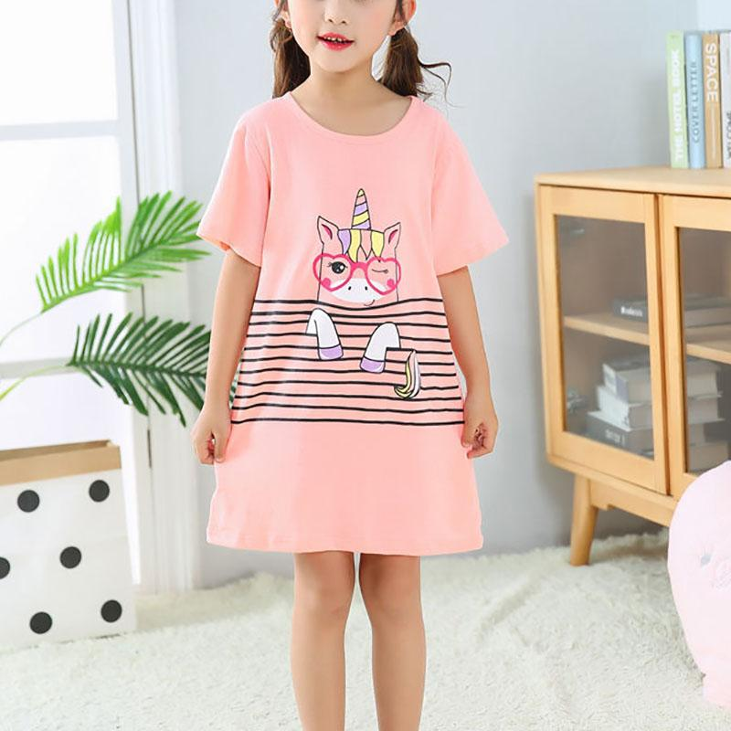 Unicorn Pattern Pajamas Dress for Girl
