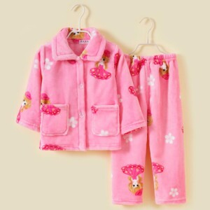 2-piece Strawberry Printed Flannel Pajamas Sets for Toddler Girl