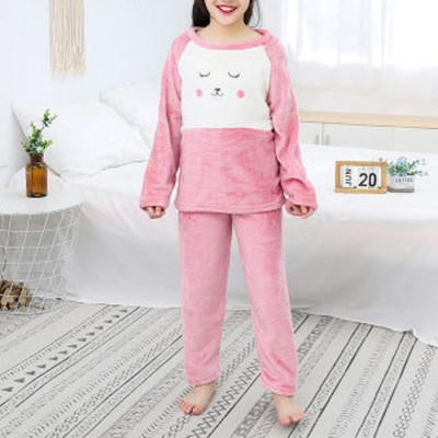 2-piece Cartoon Design Flannel Thick Pajamas Sets for Toddler Girl