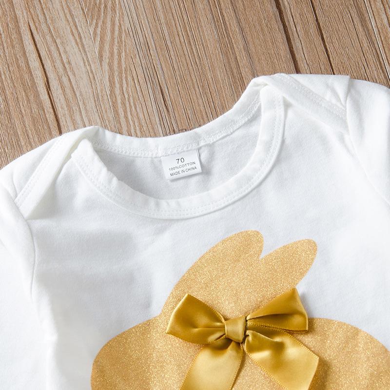 3-piece Rabbit Pattern Romper & Headband & Pants for Baby Girl