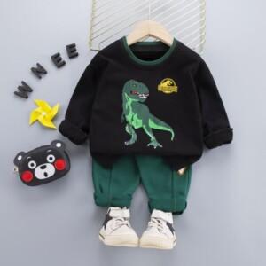 2-piece Dinosaur Pattern Sweatshirt & Pants for Toddler Boy