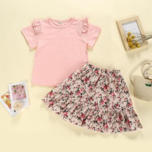2-piece T-shirt & Floral Skirt for Toddler Girl
