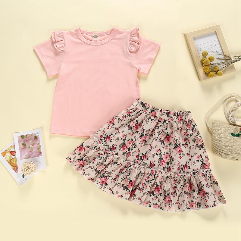 2-piece T-shirt & Floral Skirt for Toddler Girl