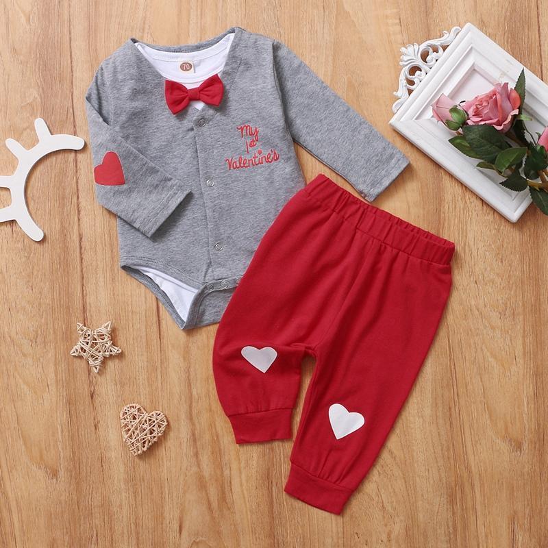 3-piece Heart-shaped Pattern Romper & Headband & Pants for Baby Boy