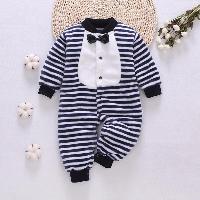 Bow Decor Striped Jumpsuit for Baby Boy