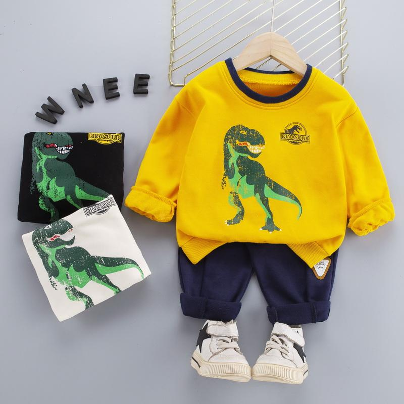 2-piece Dinosaur Pattern Sweatshirt & Pants for Toddler Boy
