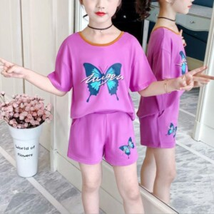 2-piece Butterfly Pattern T-shirt & Shorts for Girl