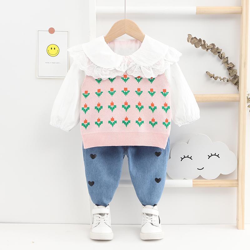 3-piece Floral Vest & Shirt & Pants for Toddler Girl