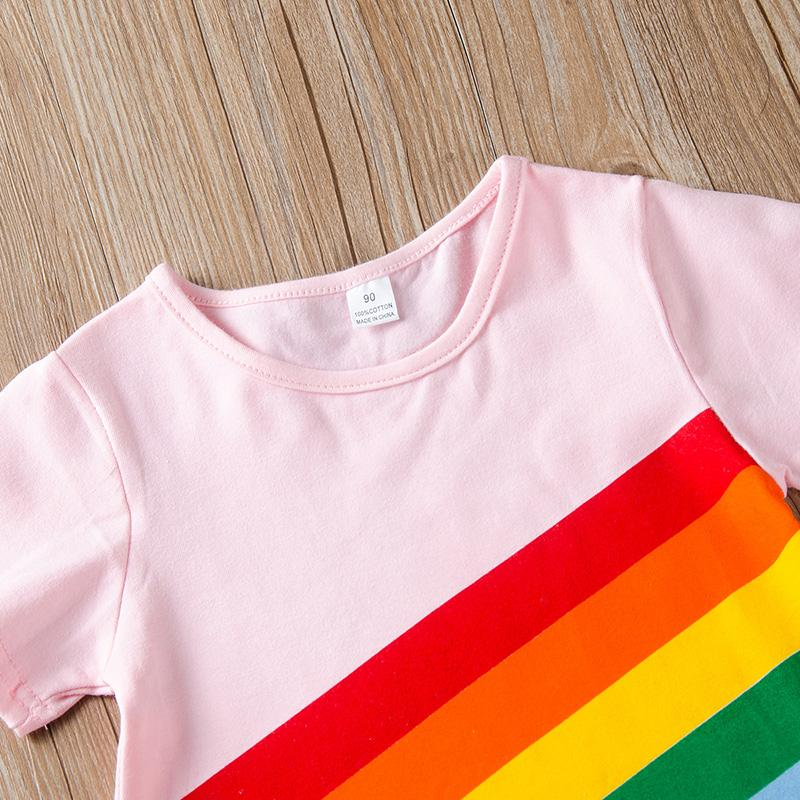 Rainbow Pattern Dress for Toddler Girl