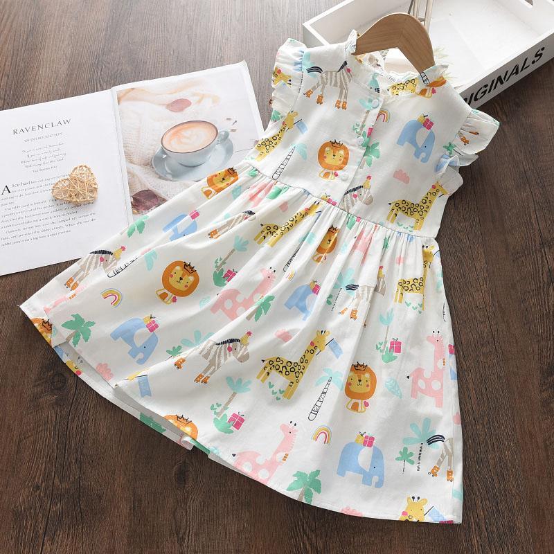 Animal Pattern Dress for Toddler Girl