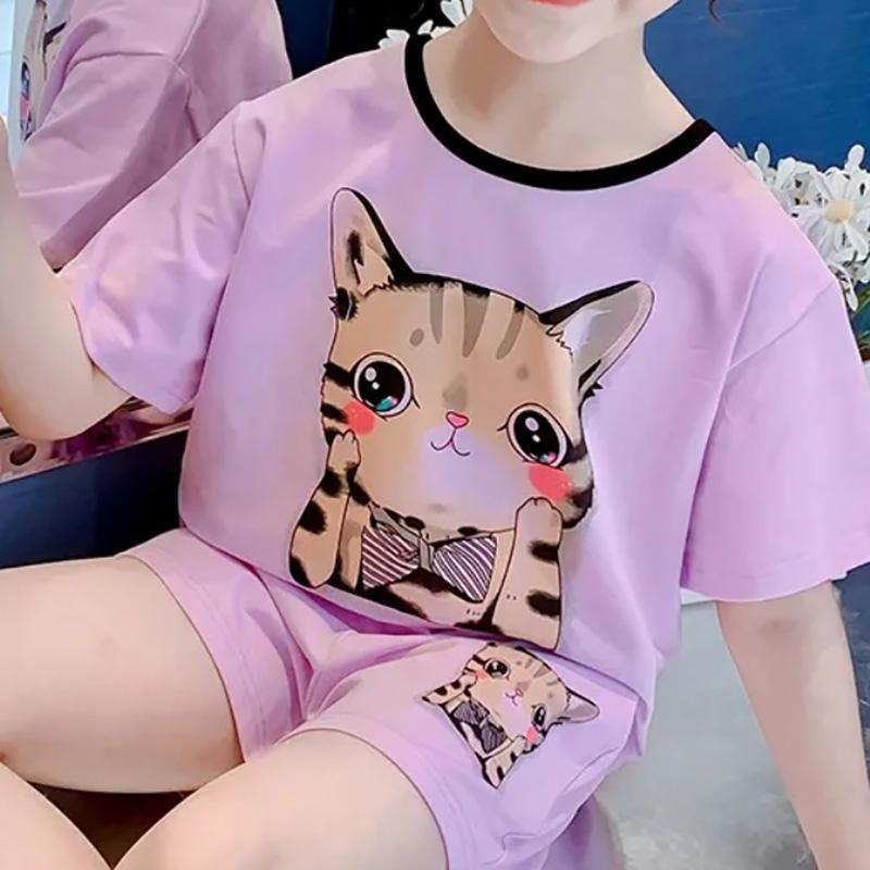 2-piece Cat Pattern T-shirt & Shorts for Girl