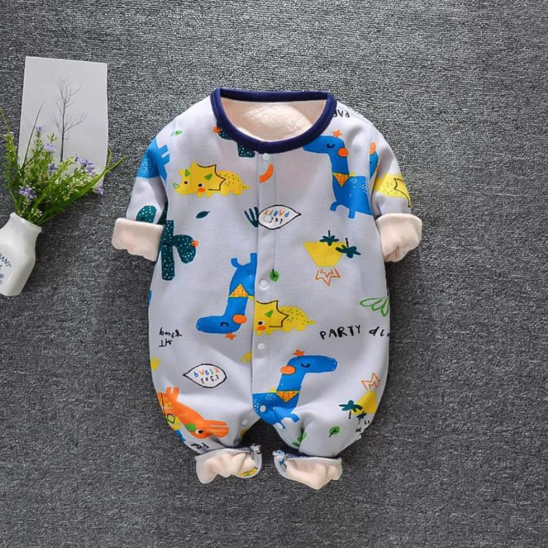 Fleece-lined Sailboat Pattern Jumpsuit for Baby Boy