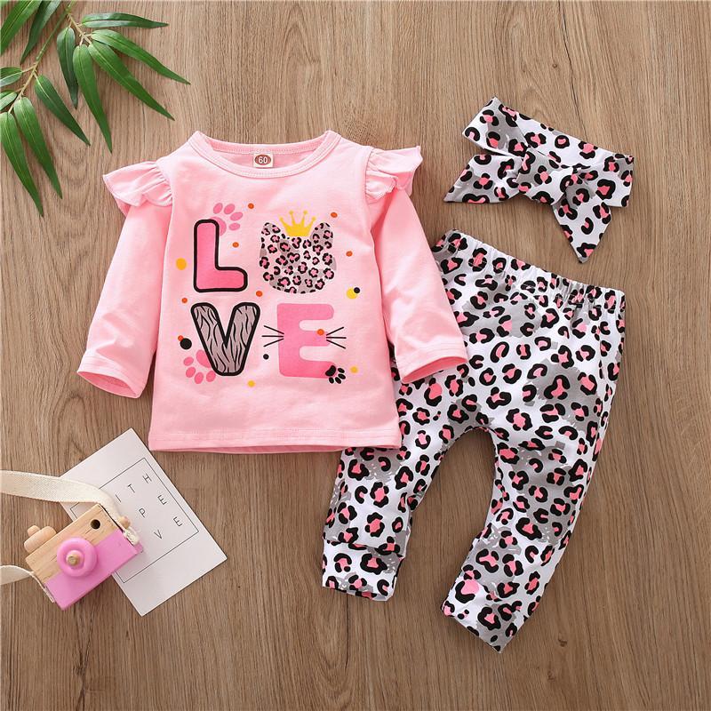 3-piece Top & Headband & Leopard Pants for Baby Girl