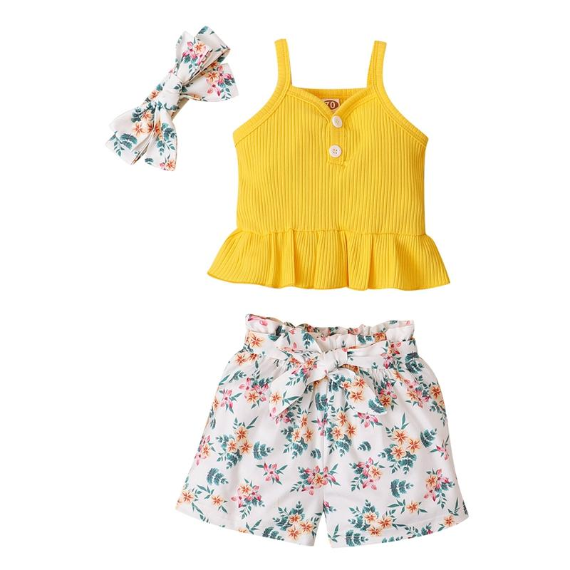 3-piece Sling Top & Headband & Floral Pants for Baby Girl