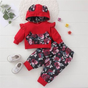 2-piece Floral Hoodie & Pants for Baby Girl