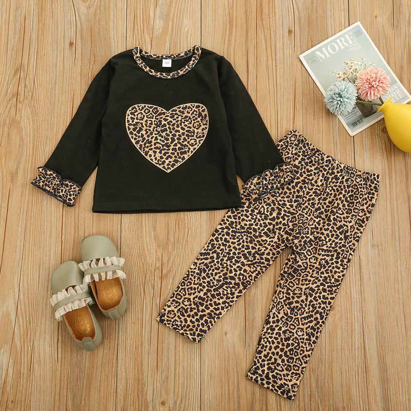 Baby Girl Outfit Heart-shaped Long Sleeve T-shirt & Leopard Pants