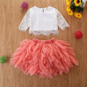 2-piece Lace Dress Set for Toddler Girl