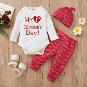 3-piece Valentine's Day Romper & Hat & Floral Pants for Baby Girl