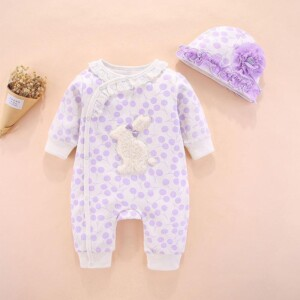 2-piece Bunny Pattern Jumpsuit & Hat for Baby Girl