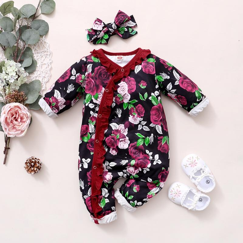 2-piece Floral Jumpsuit & Headband for Baby Girl