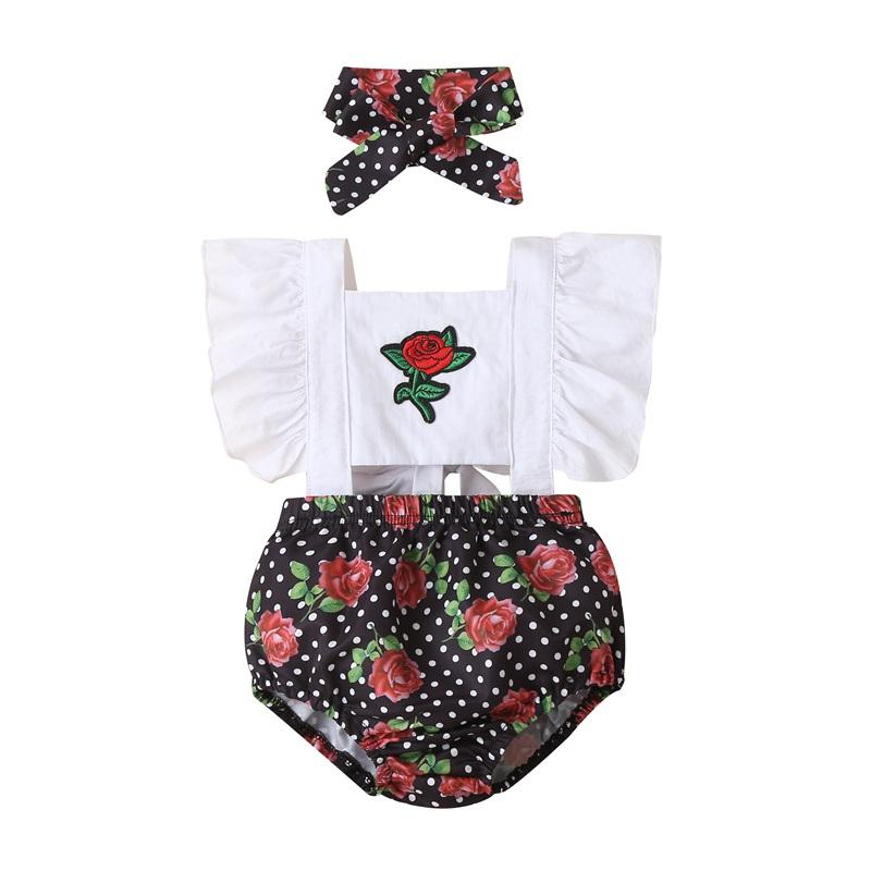 2-piece Valentine's Day Romper & Headband for Baby Girl