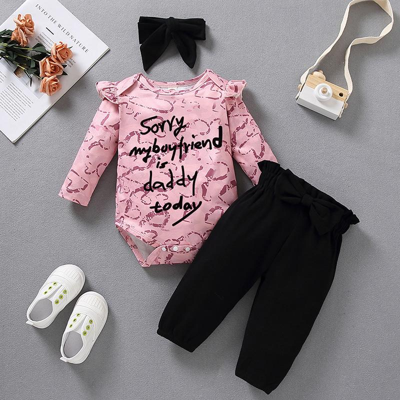 3-piece Valentine's Day Romper & Headband & Pants for Baby Girl