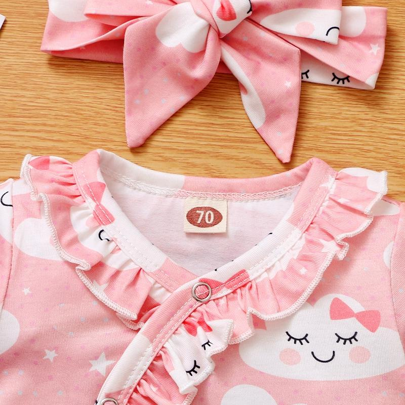 2-piece Clouds Pattern Jumpsuit & Headband for Baby Girl