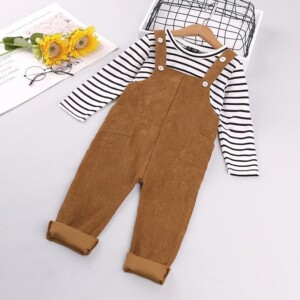 2-piece Striped Long Sleeve T-shirt & Bib Pants for Toddler Girl