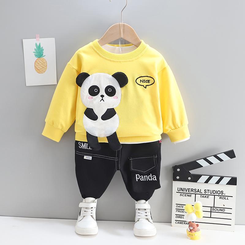 2-piece Panda Pattern Sweatshirt & Pants for Toddler Boy