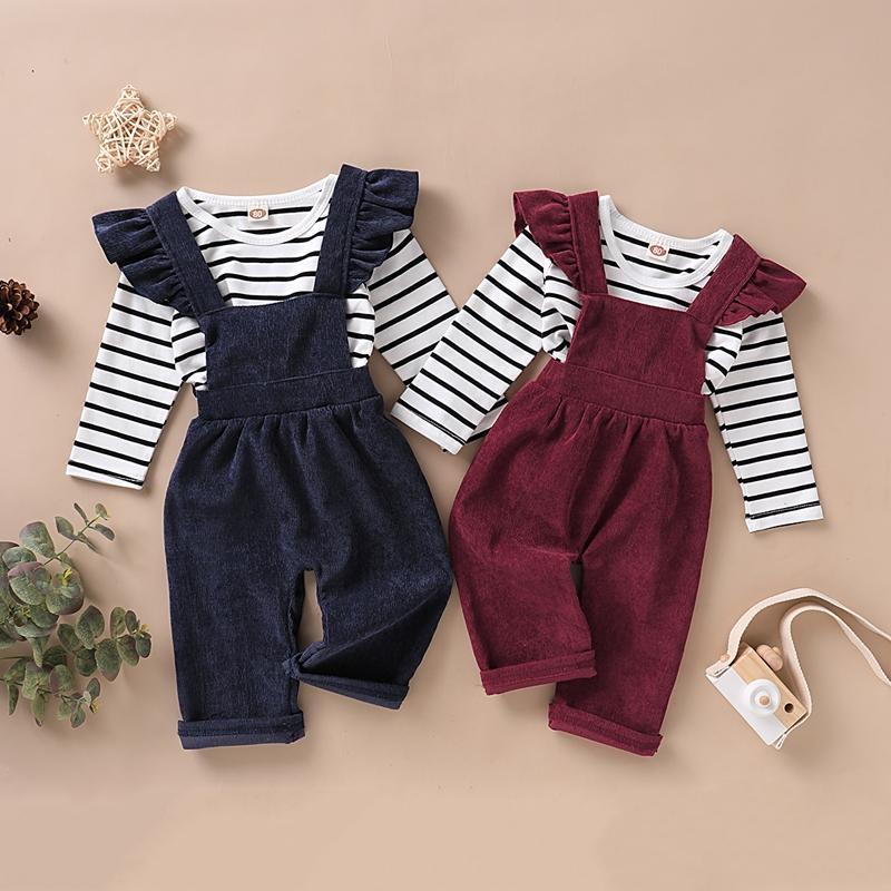 2-piece Stripes Long Sleeve T-shirt & Bib Pants for Toddler Girl