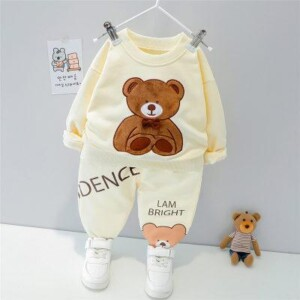 2-piece Bear Pattern Sweatshirt & Pants for Toddler Boy