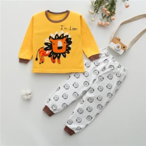2-piece Lion Pattern Pajamas Sets for Toddler Boy