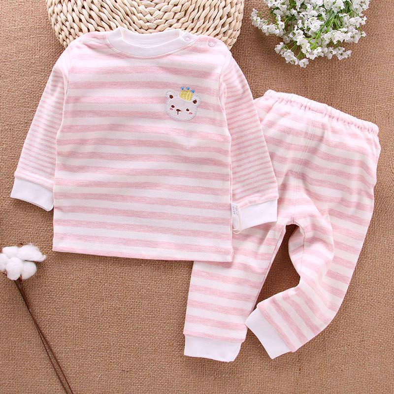 2-piece Bear Pattern Pajamas Sets for Baby Girl