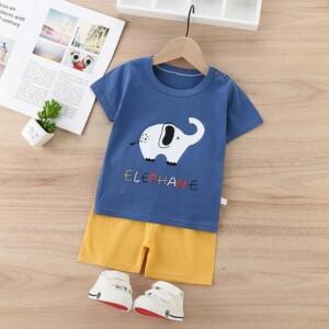 2pcs Cute Cartoon Print T-shirt and Pants