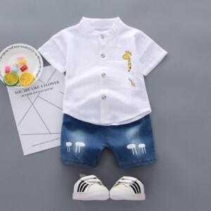 2-piece Deer Pattern Shirt & Short Jeans for Toddler Boy (No Shoes)